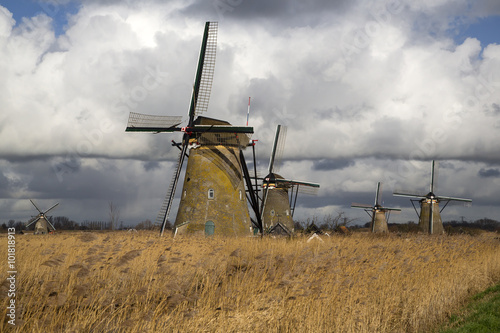 Tuinposter Molens Dutch windmills under clouded sky, Unesco World Heritage Site Kinderdijk, South Holland, Netherlands