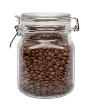 Coffee Beans In A Glass Canister