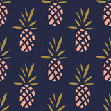 Pineapples on the dark background. Vector seamless pattern with tropical fruit. - 101826183