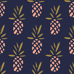 Fototapeta samoprzylepna Pineapples on the dark background. Vector seamless pattern with tropical fruit.