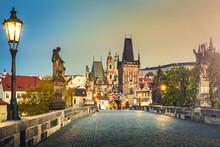 Prague, Charles Bridge At Dawn, Czech Republic