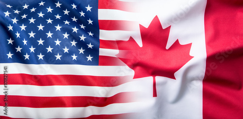 Foto op Canvas Canada USA and Canada. USA flag and Canada flag