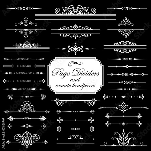 Photo  Page dividers and ornate headpieces isolated on black background