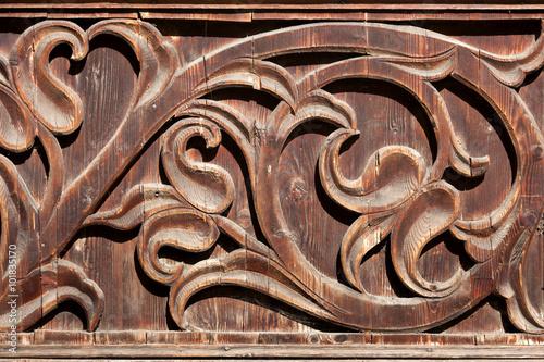 Staande foto Artistiek mon. Wooden bass-relief. Podhale, southern Poland