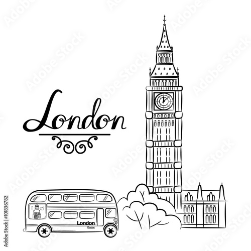 hand sketch World famous landmark collection : Big Ben London, England Wallpaper Mural