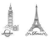 Fototapeta Fototapety z wieżą Eiffla - hand sketch World famous landmark collection : Big Ben London, England and sketch of Paris, Eiffel Tower. Vector illustration