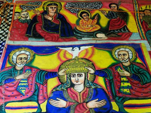 Deurstickers Graffiti collage Sacred pictures in Ethiopia