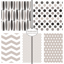 Grey And Black Geometric Pattern Set. Repeating Patterns For Fabric, Gift Wrap, Backgrounds, Scrapbooking And More. Oval, Circle, Chevron, Rectangle And Polka Dot Prints. Modern, Contemporary, Retro.