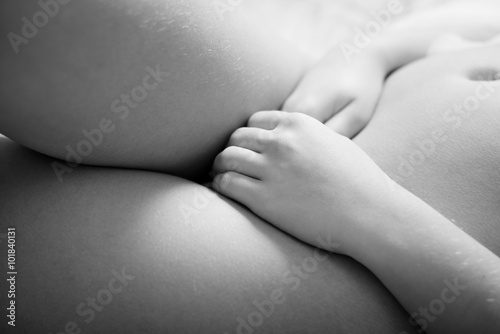 Valokuva  Black and white photography closeup of stunning female fashion model touching he