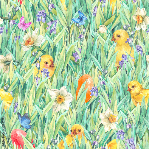 Cotton fabric Happy Easter seamless pattern with green grass