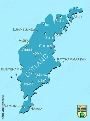Photo  Map of Swedish isle of Gotland