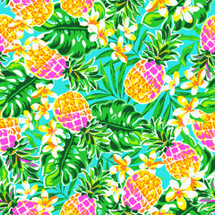 Panel Szklany Owoce cute pineapples ~ seamless fashion print