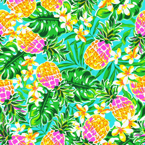 Valokuvatapetti cute pineapples ~ seamless fashion print