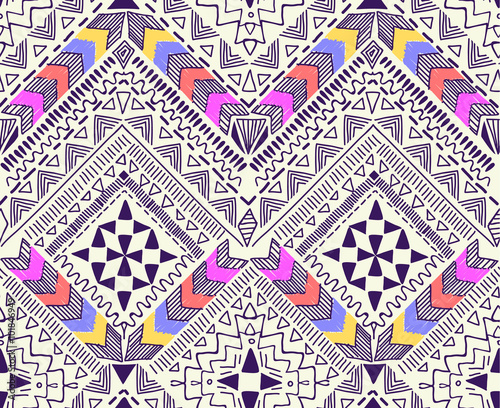 Cotton fabric Cool tribal geometric design ~ seamless background
