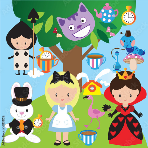 Valokuvatapetti Alice in Wonderland vector illustration