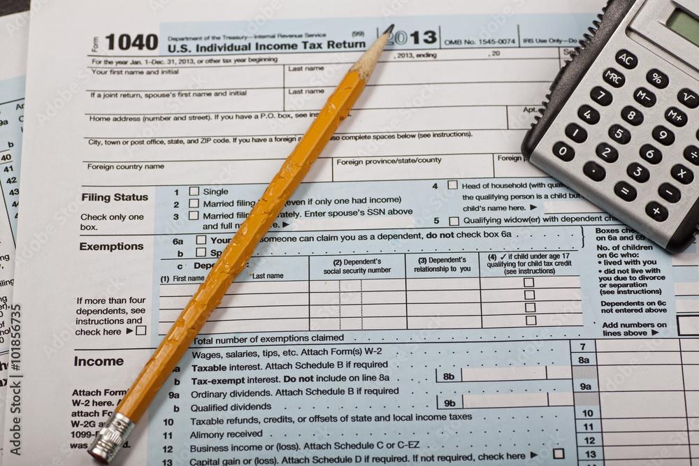 Photo Art Print Tax Seasonirs Form 1040 With Chewed Pencil And