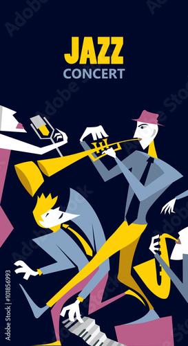 Abstract Jazz Art Jazz Band Event Poster Vector Art Buy