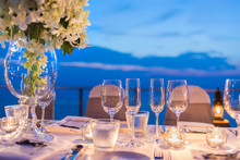 Romantic Dinner Setup, Decoration With Candle Light, Twightlight. Selective Focus.