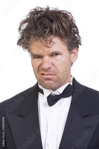 Fotografie, Obraz  Deranged angry man in a tuxedo
