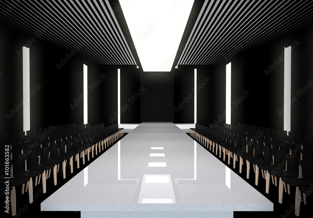 Fototapety, obrazy: 3D illustration of fashion empty runway with spot light. before a fashion show