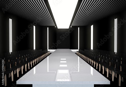 Fényképezés  3D illustration of fashion empty runway with spot light