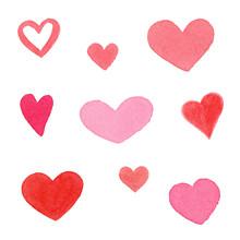 Watercolor Hearts Set