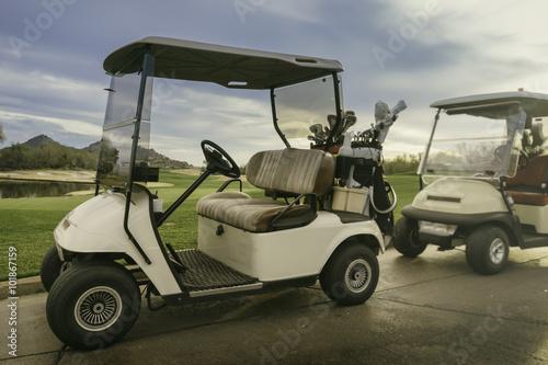 Fotografering  Golf Cart 18th hole