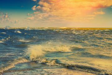 FototapetaMerger of two seas. Cape Kolka, Latvia. Retro color correction