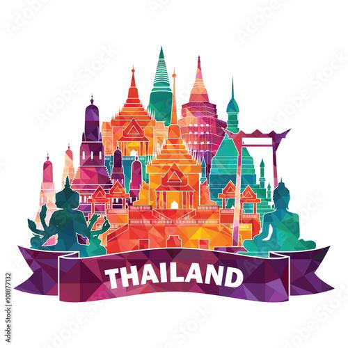 Foto  Thailand detailed famous monuments. Vector illustration
