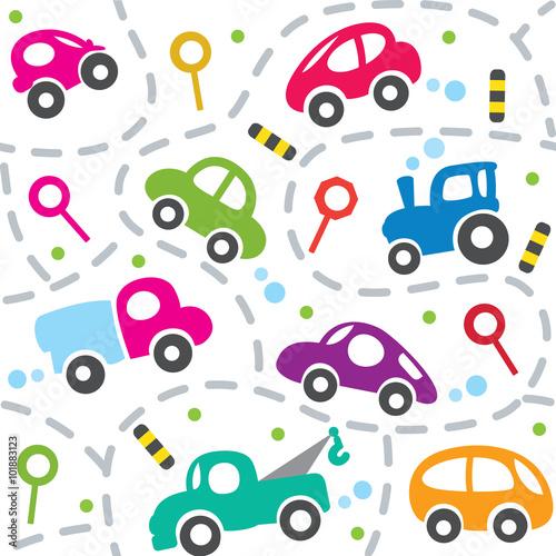 wzor-pattern-kolorowe-samochody