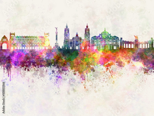 mexico-city-v2-skyline-in-watercolor-background