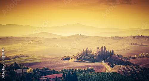 Poster Melon Tuscany, Italy landscape. Super high quality panorama taken at wonderful sunrise.