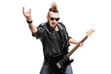 Punk Rock Guitarist Making Rock Gesture