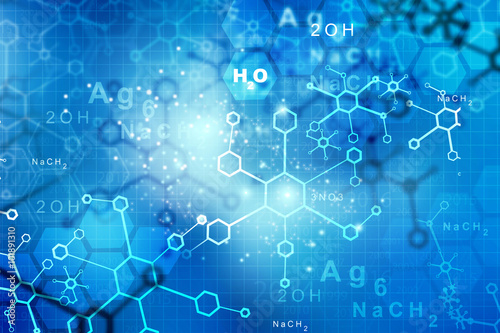 Photo  Abstract Molecules.  science and technology  background.