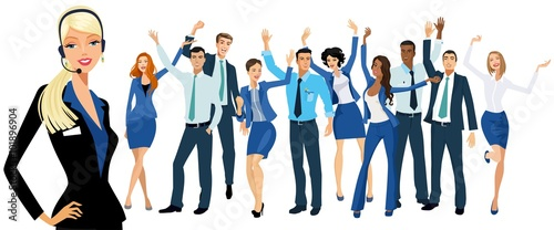 Photographie successful business people and communication