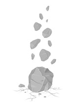 Vector Falling Rocks Icon Illustration. Rocks Falling And Cracking The Ground Leaving Rubble.