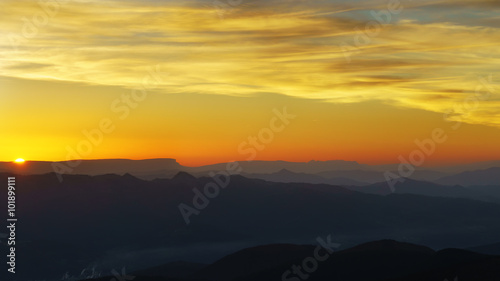Canvas Prints Cuban Red panorama of mountain silhouettes at sunset