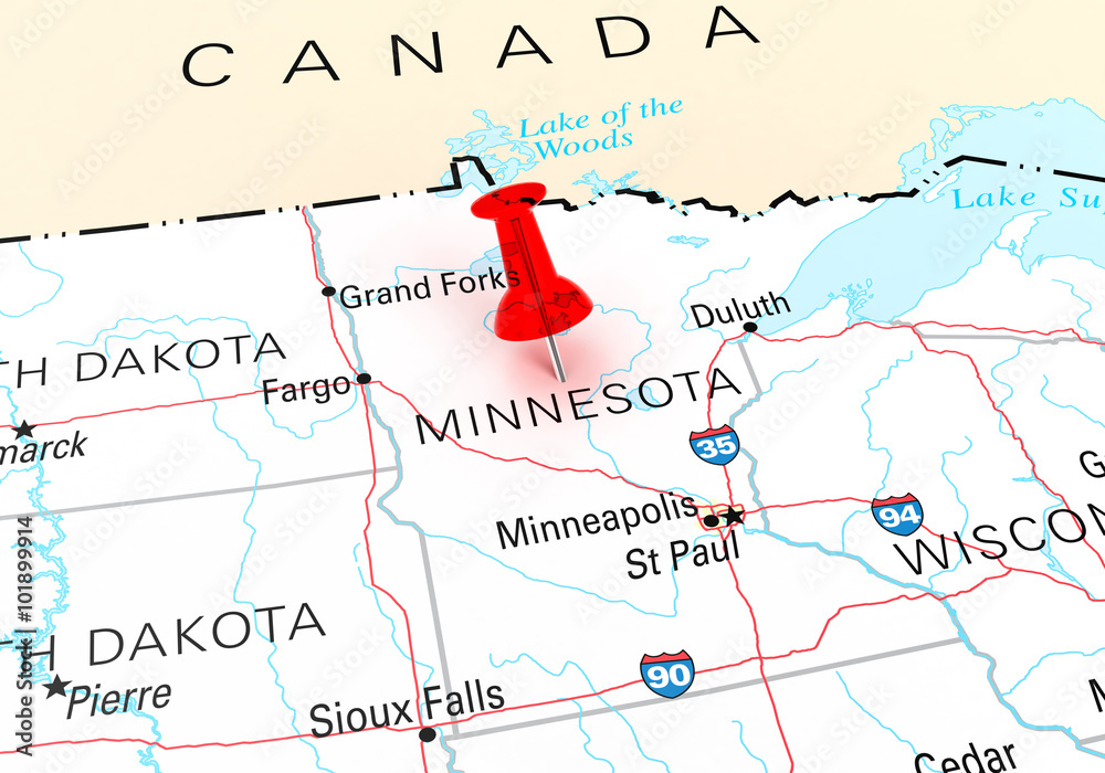 Red Thumbtack Over Minnesota State USA Map Foto, Poster ...