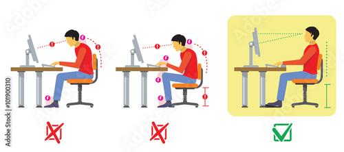 Fotografía  Correct and bad spine sitting posture