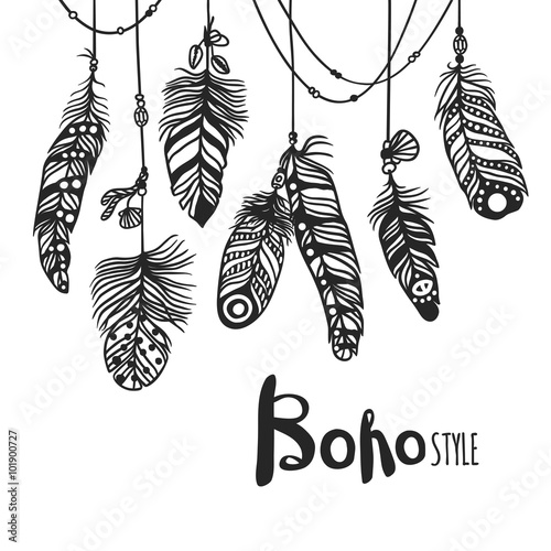 Fotografering  Boho feather hand drawn effect vector style illustration