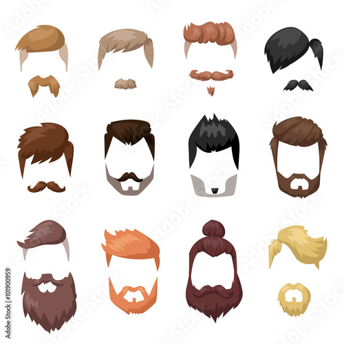 Photo Hairstyles beard and hair face cut mask flat cartoon collection