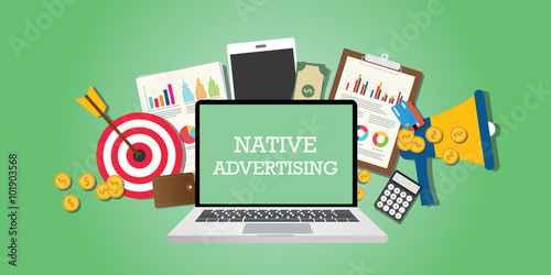 Fotomural native advertising concept with marketing media and tools illustrated in laptop