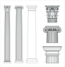 Set Of Ancient Greek Columns. Doric, Ionic And Corinthian Style.