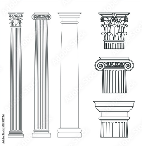 Set of ancient Greek columns. Doric, Ionic and corinthian style.
