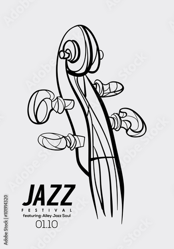 music poster background template vector violin neck illustration