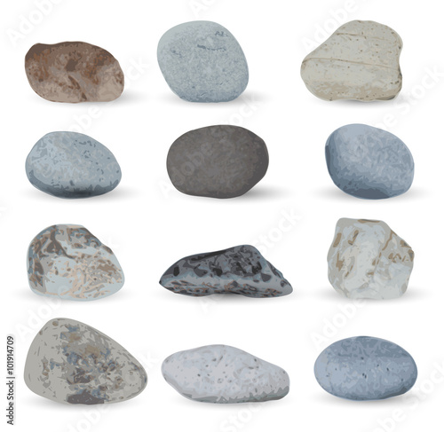 Pinturas sobre lienzo  Grey sea stones collection isolated on white background