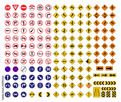 Fototapeta all traffic signs vector obraz na płótnie