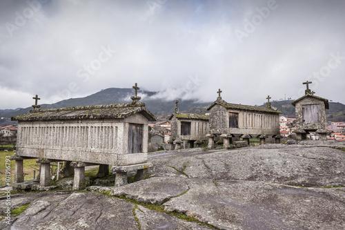 Fotografie, Obraz  Ancient stone corn driers in Soajo, north of Portugal