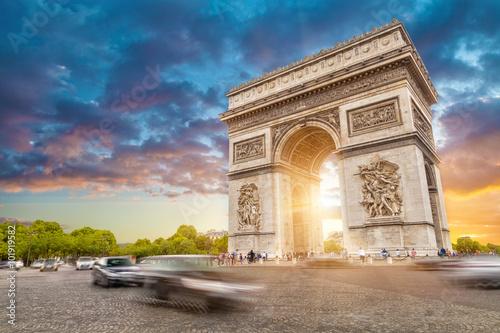 Arc de triomphe, Paris city at sunset Canvas-taulu