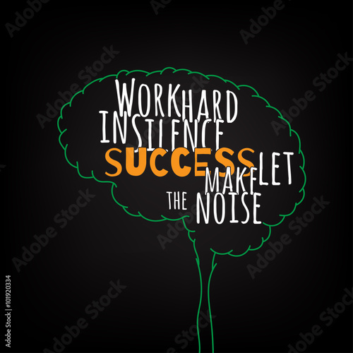 work hard in silence success let make the noise motivation clever ideas in the brain poster